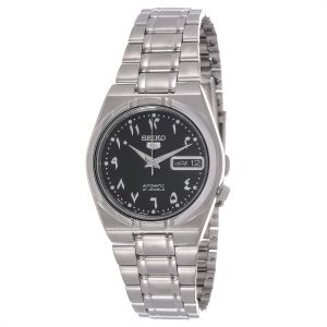a155280eac7 Seiko 5 Unisex Black Dial Stainless Steel Band Analog Watch - SNK063J5
