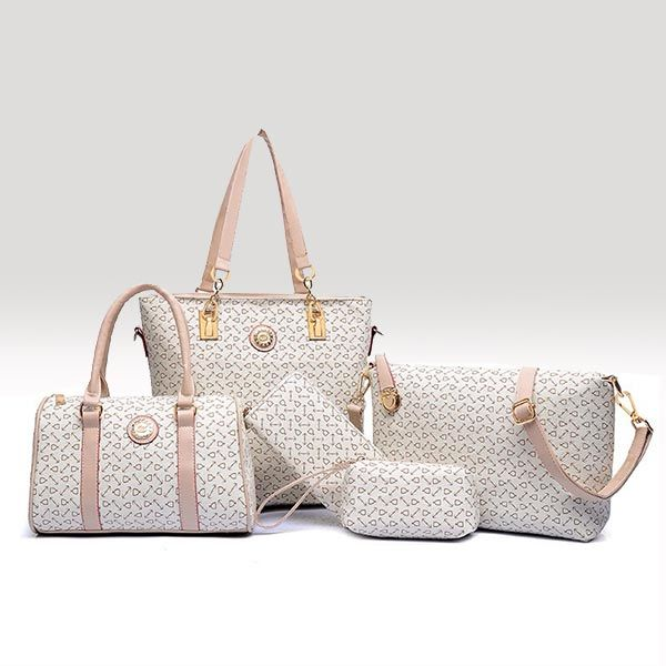 Classic 5 Piece Handbag Set White