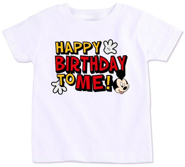 Mickey Mouse With Happy Birthday To Me T Shirt 6 7 Years