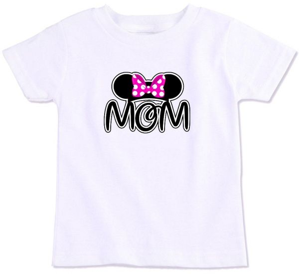 Minnie Mouse Ear Silhouette With Pink Bow And Mom Family Matching T Shirt XXL