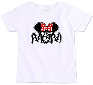 731f941f91c1e0 Minnie Mouse Ear Silhouette With Red Bow And Mom Family Matching T-Shirt