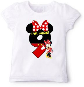 Minnie Mouse In Red IM Nine Birthday T Shirt