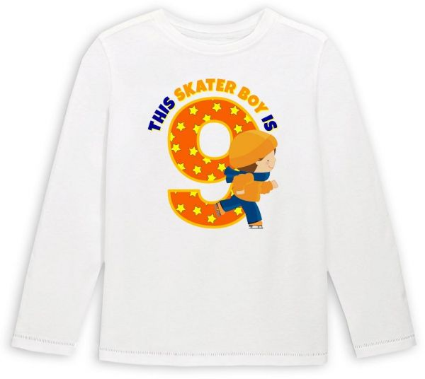 This Skater Boy Is 9 Birthday Long Sleeved T Shirt