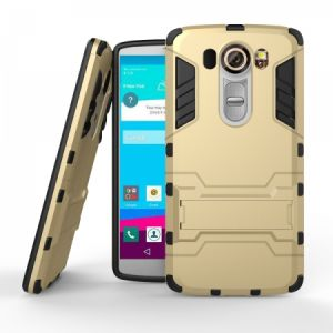 Calans LG V10 Armor Shockproof Stand Case Cover With Screen Protector - Gold