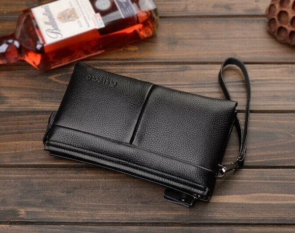 Fashion Trend Casual Genuine Leather Long paragraph Clutch bag Wallet hand  bag For Men Black QB43A  66d40abc3b844