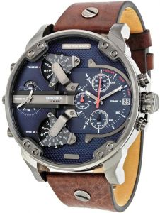 26e9c8134da Diesel Brown Leather Blue dial Chronograph for Men DZ7314