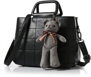 fashion black straight stitch criss cross leather handbag for women casual bear decor shoulder bag