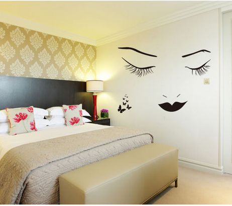 Beauty Face Outline Wall Decals Living Room Sofa Background Wall ...