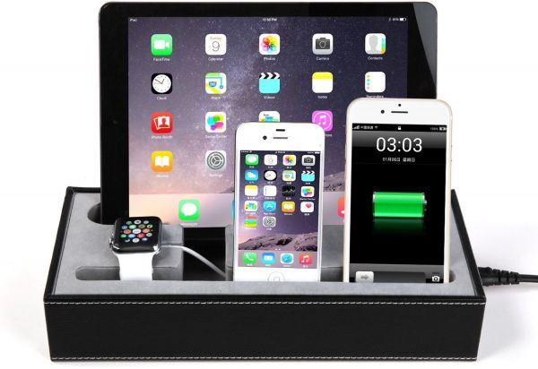 For Smart Watch Iphone Ipad All In One Leather Stand And Charging Station Container