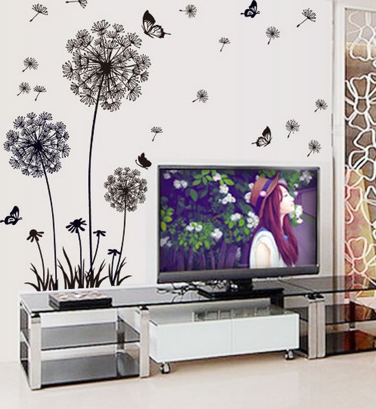 diy black dandelion flower butterfly art wall decor decals mural pvc
