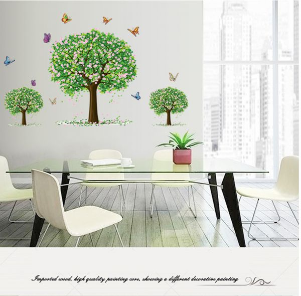 three trees 3d wall sticker home decor spring new life decal kids