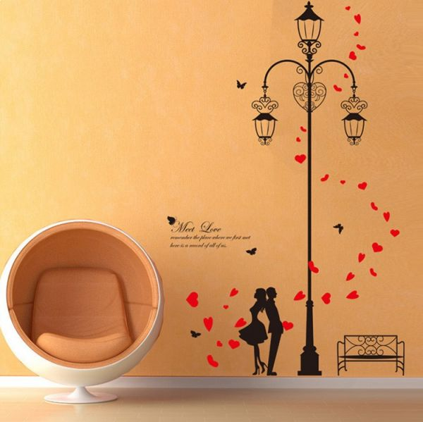 lamp love wall stickers home decor living room diy art mural decals