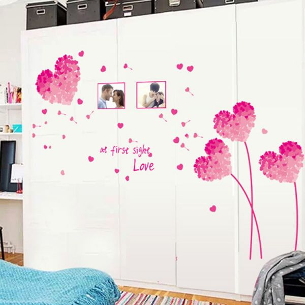 love pink wall stickers living room tv background romantic bedroom