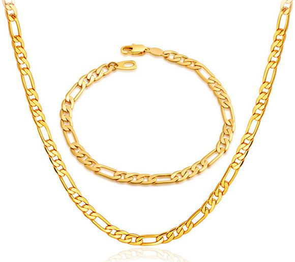 Souq 18k Real Gold Plated Never Fade Chunky Figaro Necklace
