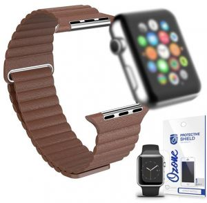 Magnetic Leather Strap with screen protector for Apple Watch 42mm Brown 33536ca7996