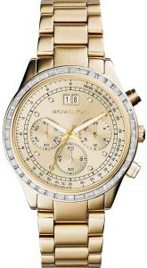 b80414f22 Michael Kors Brinkley Women's Gold Dial Stainless Steel Band Chronograph  Watch - MK6187