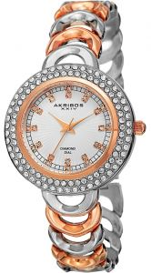 be47cba0d Akribos XXIV Women Round Sunburst Lined Silver Dial Three Hand Two Tone  Bracelet Watch - AK804TTR