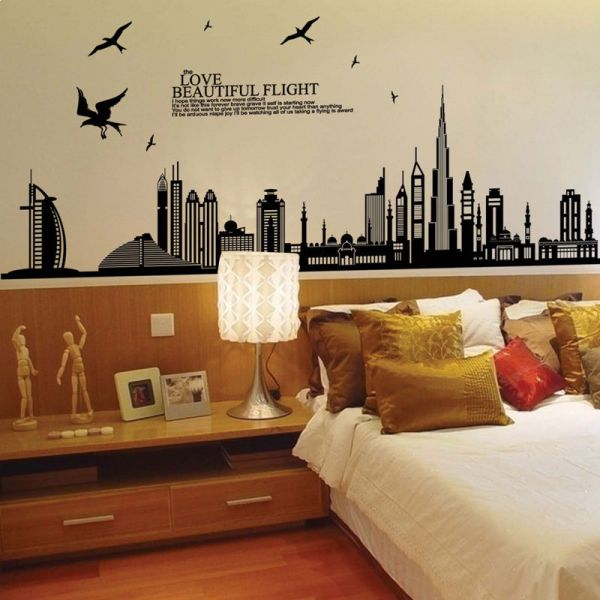 dubai city bulding large wall decal waterproof adhesive wall sticker