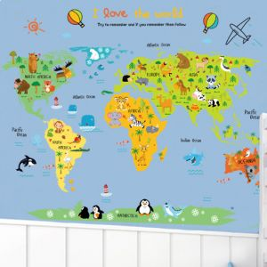 World map zooyooicanvasartthe decal guru uae souq cartoon world map diy wall stickers art decor mural room decal decals sticker gumiabroncs