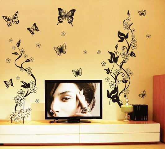Black Butterfly Wall Sticker Home Decor Living room wall decoration ...
