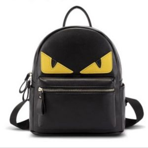 fashion leather shoulder black bag monster washed leather Devil Back Pack  school backpack 167e269d41178