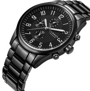 CURREN Mens Watches Stainless Steel Band Men Quartz Watch Casual Watch With Black Dial Curren-8063
