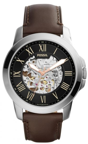 96f70c3bf9b Fossil Grant Men s Black Dial Leather Band Automatic Watch - ME3100 ...