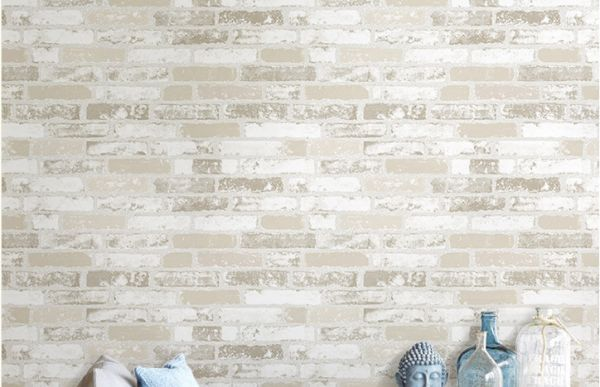 Vintage 3d Wallpaper Off White Simulative Stone Brick Pattern Living