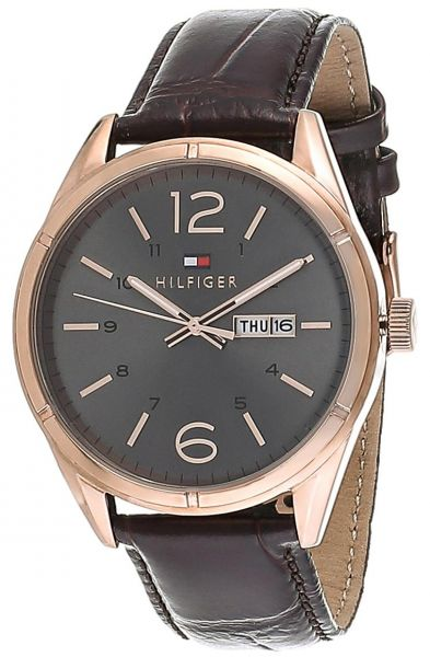 e05d53217 Tommy Hilfiger Charlie Men's Gray Dial Leather Band Watch - 1791058 ...