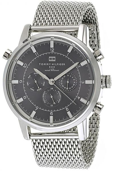 533be7fd Tommy Hilfiger Men's Black Dial Stainless Steel Mesh Band Watch - 1790877