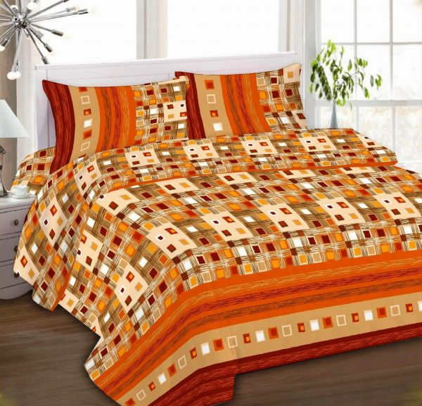 IBed Home Printed Bedsheets 3Piece Bedding Sets King Size, EAT 4395 RUST