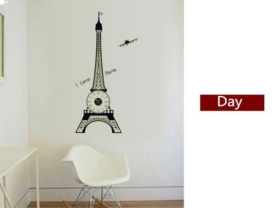 Luminous Eiffel Tower Wall Sticker Creative Clock Decals Removable Wall  Decoration