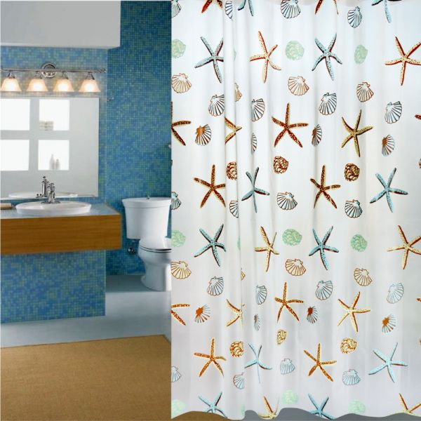 Polyester Fabric Starfish Printing Shower Curtain