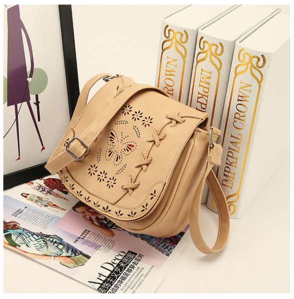 ef6583257c16 Fashion Beige Shoulder Bag For Women Hollow Butterfly Crossbody Bag Summer  Style Ladies HandBag