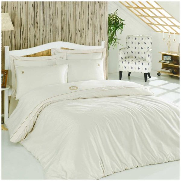 US Polo Assn Twin/Single Size, Cotton , Solid Pattern, Off White   Duvet  Covers