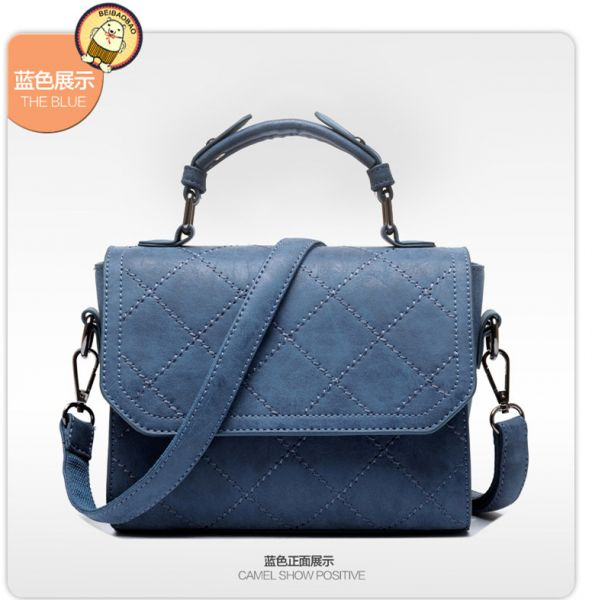 a7f1d16361d3 Fashion Blue Shoulder Bags For Women Stylish Lozenge Flap Bags Chic Ladies  Handbags
