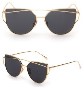 f30d0c01cb989 Retro Fashion Mirror Lenses Women Sunglasses Eyewear Gifts Gold Frame Black  Glasses