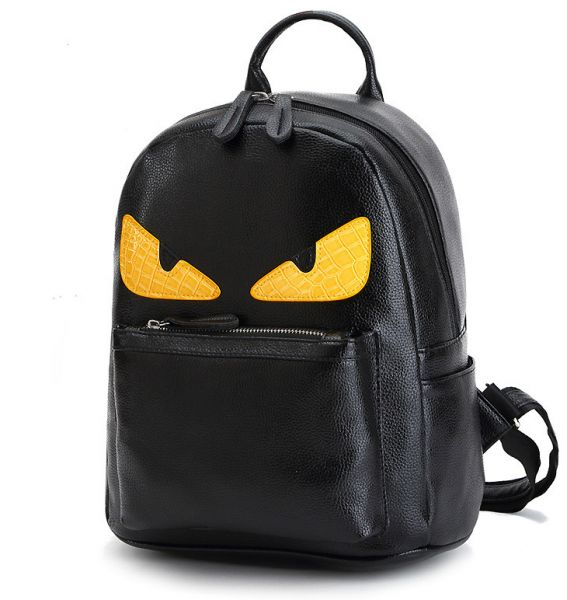 PU Leather Backpack Yellow-eyed Little Monster Unisex Fashion Rucksack  Girls Boys Satchel School Bag  9333d94745df8