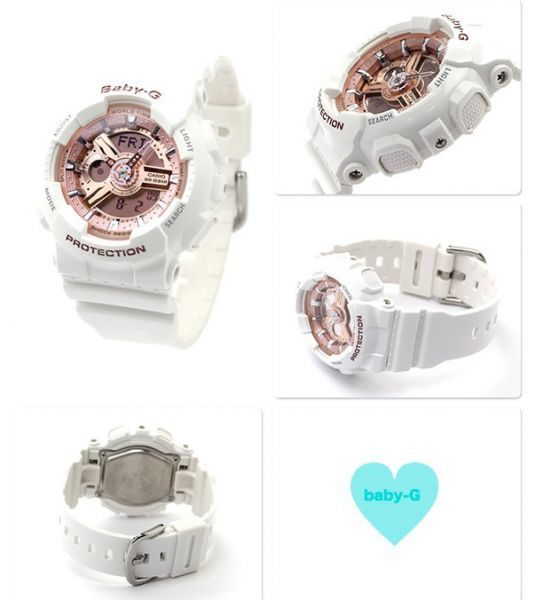 Casio Baby G White Resin Band Bronze Dial Ladies Watch BA 110 7A1 ... 47dd58a6c9b2