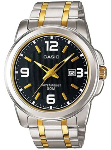 Casio Men's Black Dial Stainless Steel Band Watch - MTP-1314SG-1AV