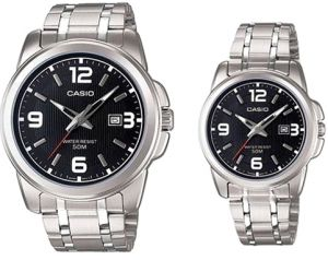 3f0e6dc8b Casio His & Hers Black Dial Stainless Steel Band Couple Watch -  MTP/LTP-1314D-1A