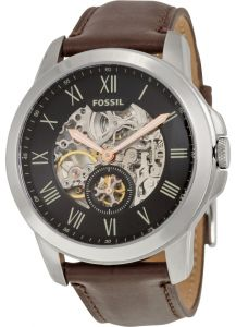f2193afcb49 Fossil Grant Men s Black Dial Leather Band Automatic Watch - ME3095