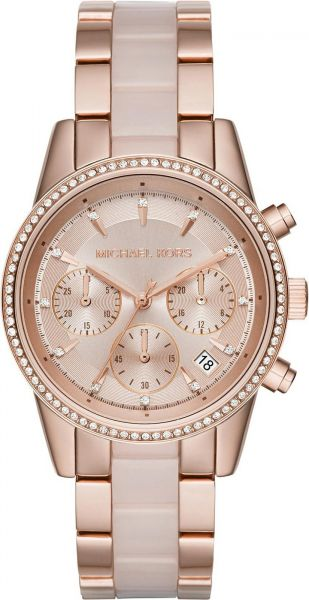 3016df295fd1 Michael Kors Ritz Women s Rose Gold Dial Stainless Steel Band Chronograph  Watch - MK6307. by Michael Kors