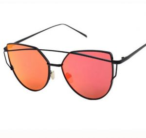 7bf265e6583 Cat Eye Women Sunglasses Mirrored Lenses Fashion Eyewear Black Frame Red  Lens