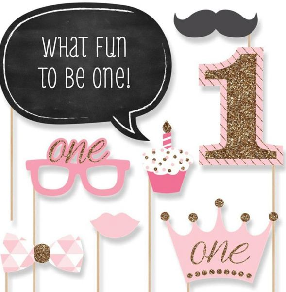20pscset Pink 1st Birthday Boy Photo Booth Props on A Stick DIY