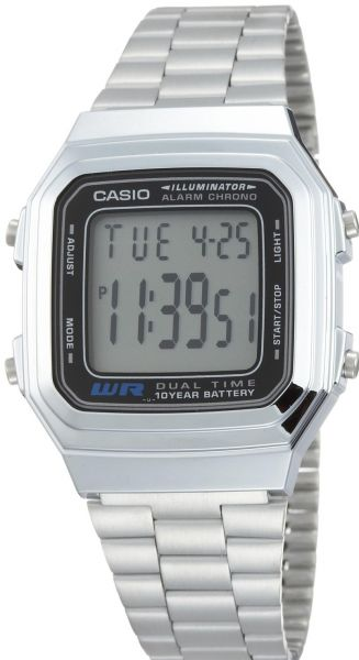 f168a729b13 Casio Illuminator Men s Grey Dial Stainless Steel Band Watch - A178WA-1AV