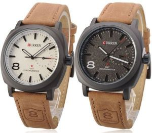 b824ae4ef Curren for Men Set of 2 - Analog Leather Band Watch - 8139