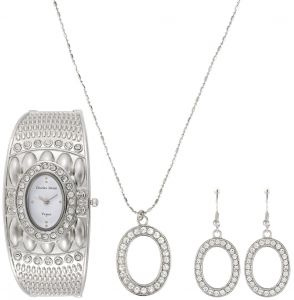 11b916f887d Charles Delon Vogue Women's White Dial Stainless Steel Band Watch & Jewelry  Set - 5049 LPWW