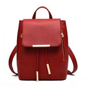 f330890d2070 Trendy Red Leather Fashion Backpacks For Women Chic Ladies Girls School  Backpacks Korean Style Bags