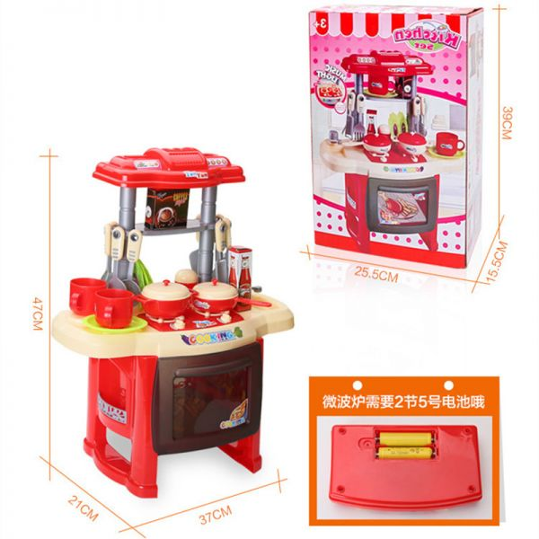 big kitchen cook set toy kids play pretend kitchen set with sound lights red souq uae. Black Bedroom Furniture Sets. Home Design Ideas